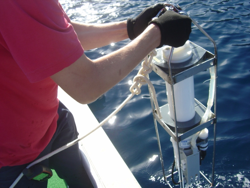 Deploying a CTD probe during Sea Grass in Corsica, 2013